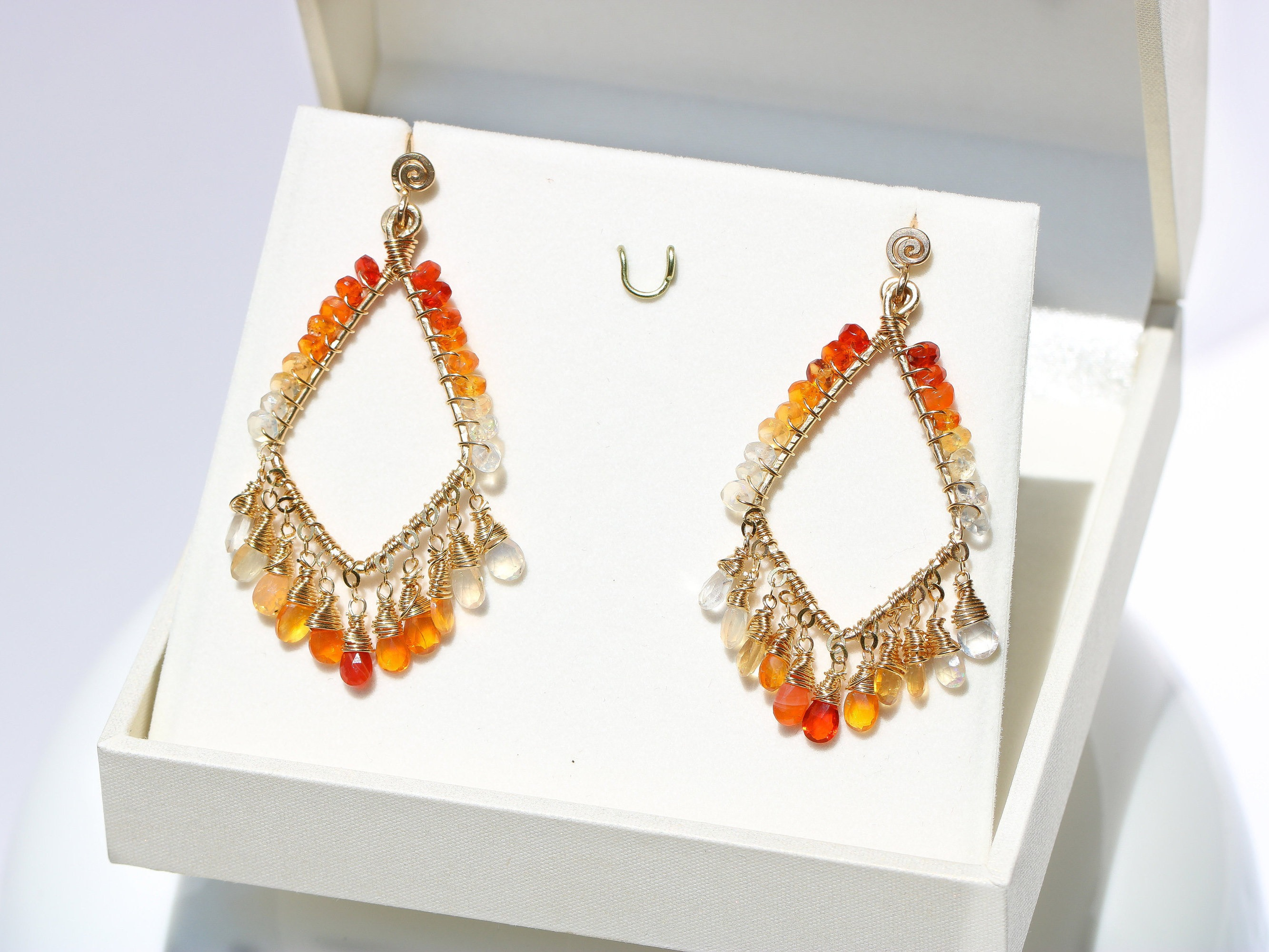 Mexican fire opal artisan chandelier earrings in gold filled one of 21996 arubaitofo Gallery