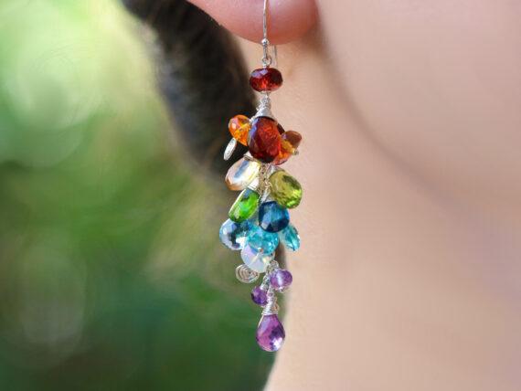 Multi Gemstone Rainbow Earrings, Long Gemstone Cluster Earrings in Sterling Silver