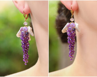 Purple Amethyst and Silver-Lilac Pearls Cluster Earrings