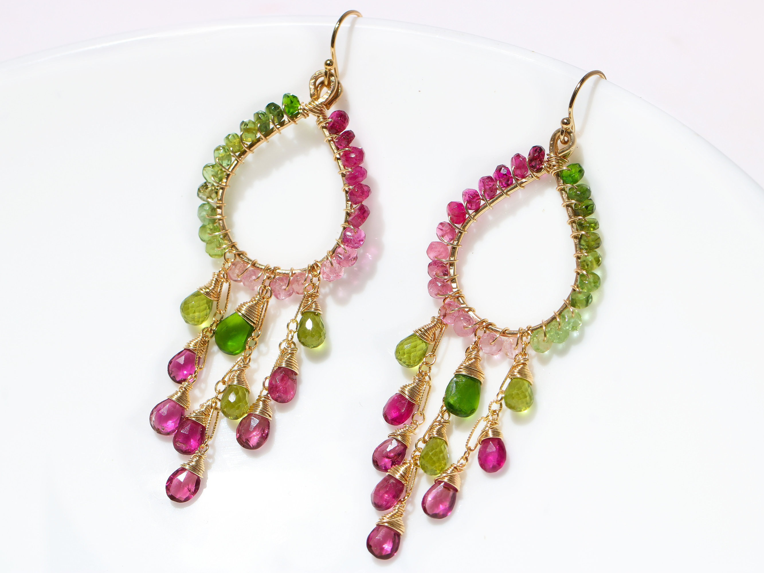 Rubellite Pink and Green Tourmaline Chandelier Earrings in Gold ...