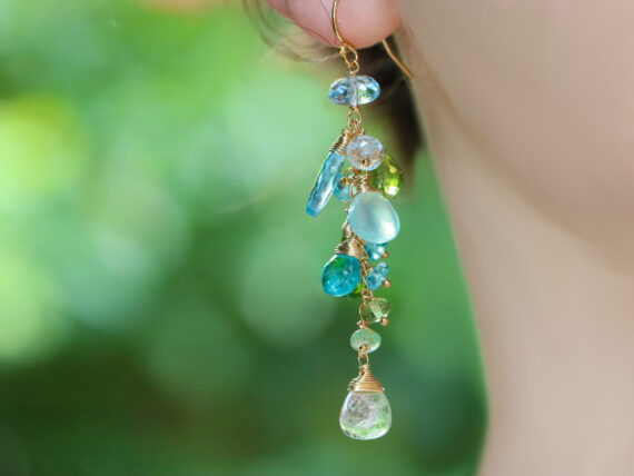 Watermelon Tourmaline with Sky Blue Topaz and Peridot Gemstone Earrings in Gold Filled