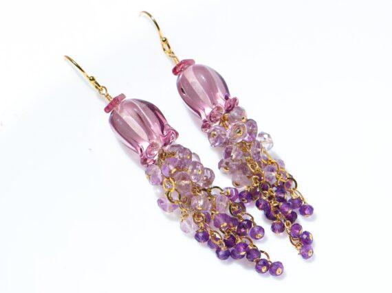 Amethyst and Lampwork Flower Gemstone Cascade Earrings in Gold Filled