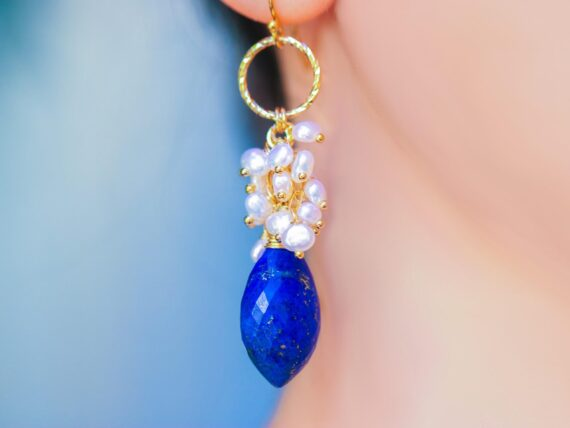 Luxury Lapis Lazuli and White Pearls Cluster Earrings in Gold Filled