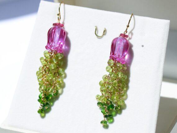 Peridot and Lampwork Flower Gemstone Cascade Earrings in Gold Filled