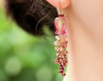 Tunduru Sapphires and Lampwork Flower Gemstone Cascade Earrings in Gold Filled
