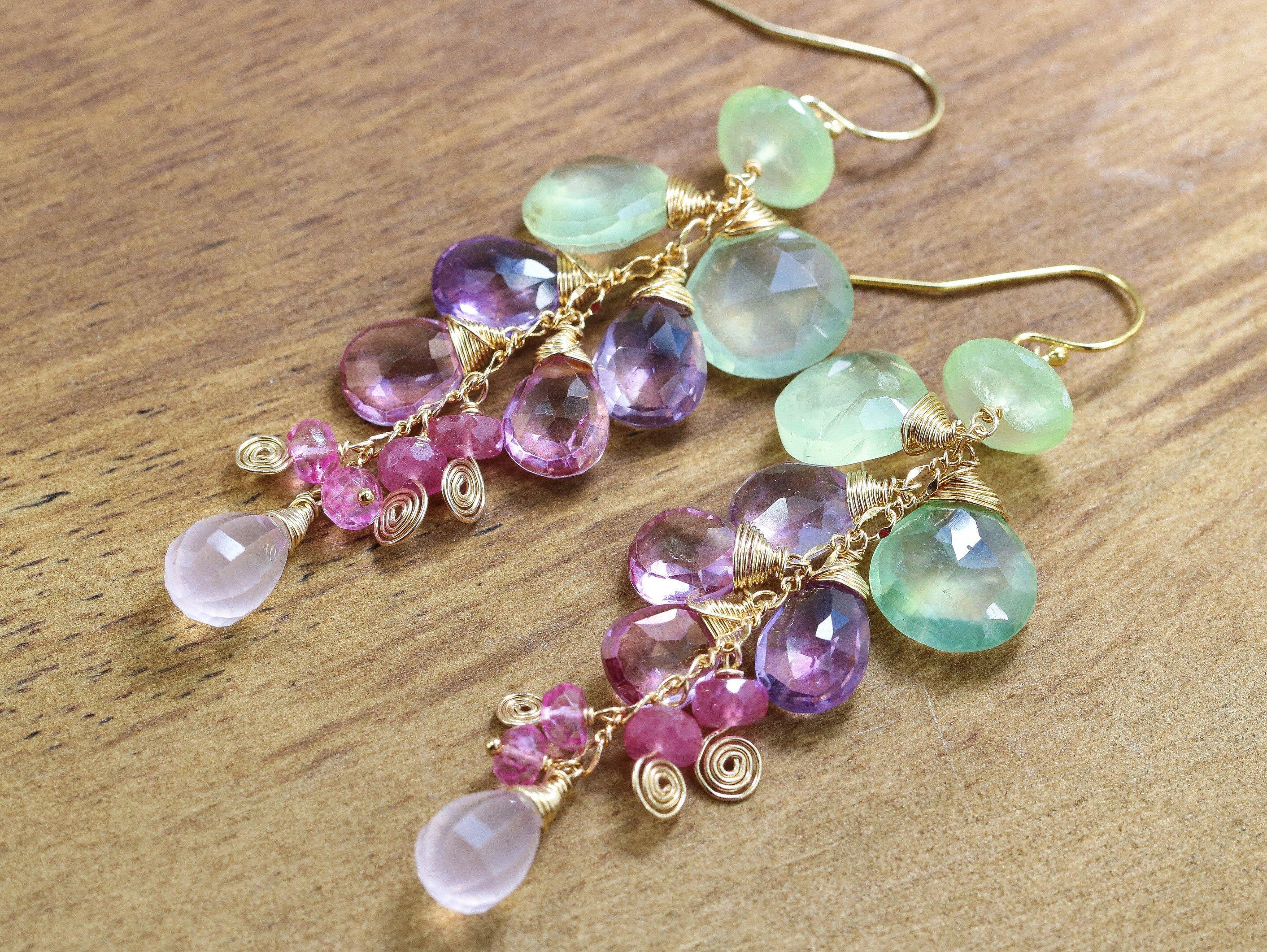 Natural Gemstone Earrings Prehnite Jewelry Prehnite Drop Earrings