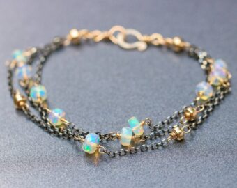 Welo Opal Bracelet with Mixed Metals Gold and Black Silver