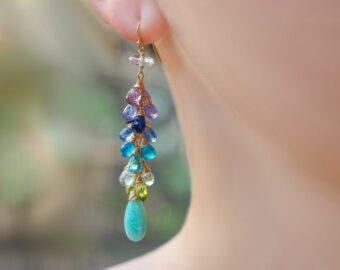 Aqua Blue Amazonite Colorful Gemstone Earrings in Gold Filled