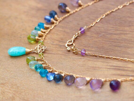 Aqua Blue Amazonite Colorful Gemstone Gold Filled Drop Necklace, Statement Necklace