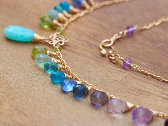 Solid Gold 14K Aqua Blue Amazonite Colorful Gemstone Drop Necklace, Statement Necklace