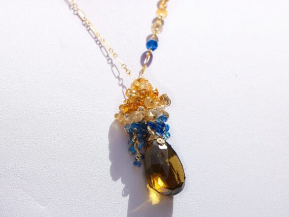 Beer Quartz with Citrine, Golden Rutilated Quartz and Kyanite Cluster Earrings in Gold Filled