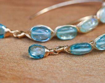 Blue Aquamarine Open Hoop Earrings in Gold Filled