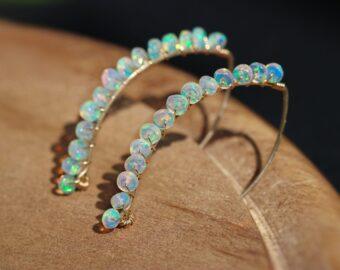 Ethiopian Opal Threader Open Hoop Earrings in Gold Filled