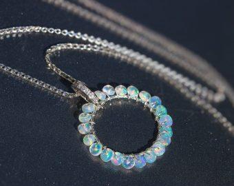 Ethiopian Opal Wire Wrapped Gemstone Hoop Pendant in Silver