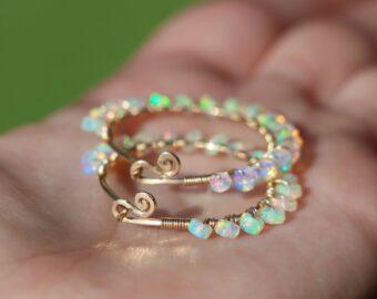 Ethiopian Opal Wire Wrapped Gemstone Hoop Earrings in Gold Filled