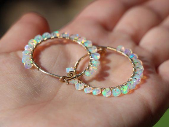 Solid Gold 14K Ethiopian Opal Wire Wrapped Gemstone Hoop Earrings