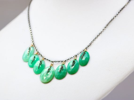 Green Chrysoprase Mixed Metals Necklace in Gold Filled and Oxidized Silver