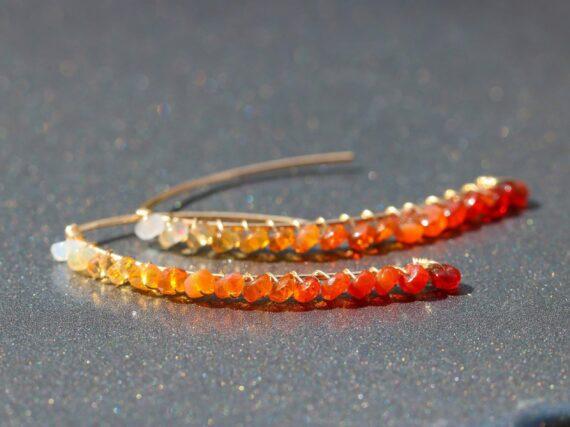 Solid Gold 14K Mexican Fire Opal Threader Open Hoop Earrings