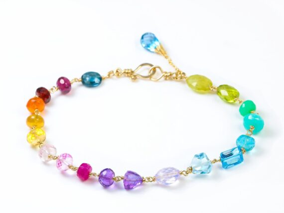 Solid Gold 14K Rainbow Multi Gemstone Necklace in Solid Gold, Precious Drop Necklace