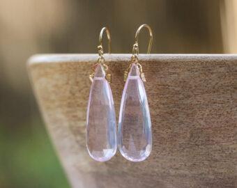 Rose Quartz Large Drop Earrings in Gold Filled