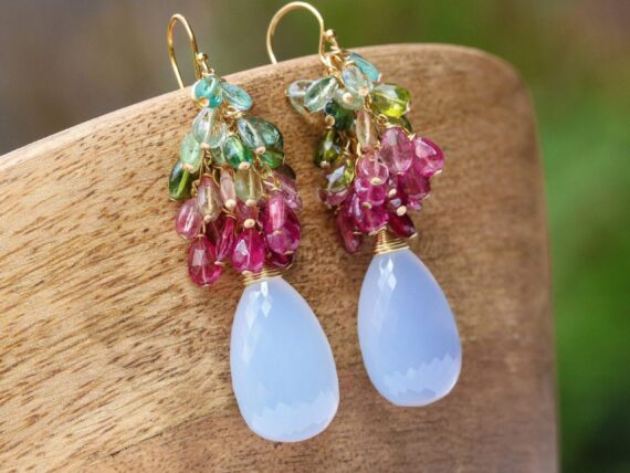 Watermelon Tourmaline Earrings with Natural Lavender Chalcedony