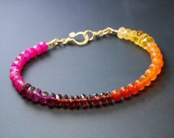 Multi Gemstone Bracelet with Ruby, Garnet, Carnelian, Citrine and Mexican Fire Opal
