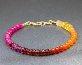 Solid Gold 14K Multi Gemstone Bracelet with Ruby, Garnet, Carnelian, Citrine and Mexican Fire Opal