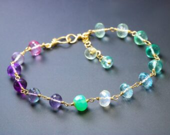Solid Gold 14K Precious Multi Gemstone Wire Wrapped Bracelet