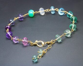 Precious Multi Gemstone Bracelet Wire Wrapped in Gold Filled