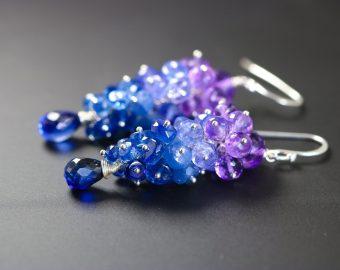 Purple Amethyst, Tanzanite, Kyanite and Sapphires Gemstone Cluster Earrings