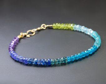 Purple Blue Gemstone Stacking Bracelet in Gold Filled
