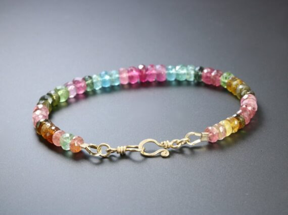 Solid Gold 14K Watermelon Tourmaline Bracelet with Pink and Blue Tourmaline