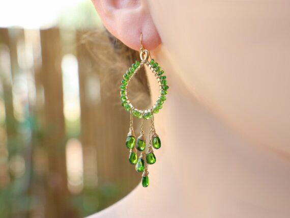 Chrome Diopside Green Chandelier Earrings in Gold Filled, Wire Wrapped Hoop Gemstone Earrings