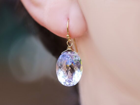 Solid Gold 14K Genuine Pink Amethyst Oval Earrings