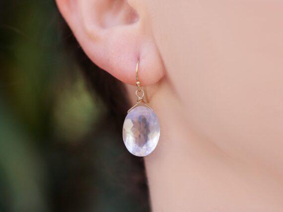 Solid Gold 14K Genuine Rose Quartz Oval Earrings