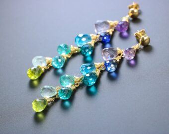 Solid Gold 14K Multi Gemstone Colorful Rainbow Earrings