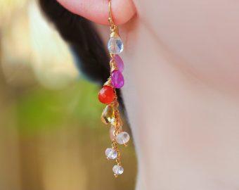 Multi Gemstone Pink Orange Gemstone Earrings Wire Wrapped in Gold Filled
