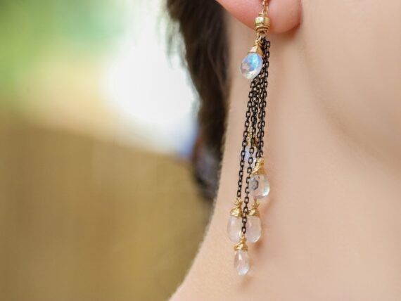 Rainbow Moonstone Earrings with Mixed Metals, Moonstone Cascade Earrings