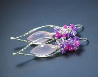 Rose Quartz, Pink Ruby and Amethyst Silver Dangle Earrings