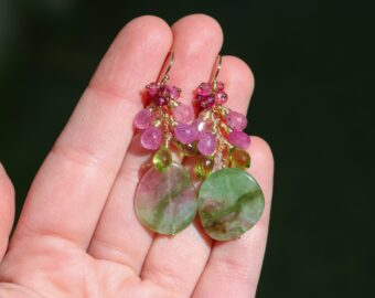 Bi Colored Tourmaline with Pink Sapphire and Green Peridot, Statement One of a Kind Earrings