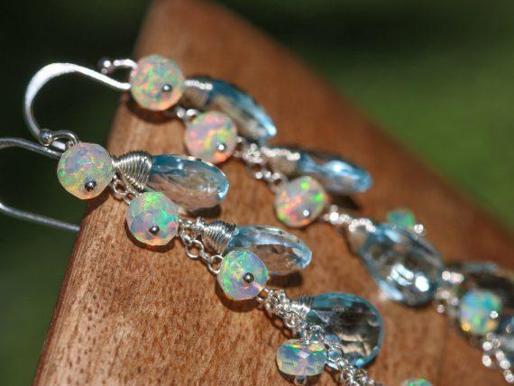 Blue Topaz and Ethiopian Opal Earrings, Cascade Linear Earrings