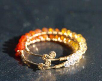 Mexican Fire Opal Wire Wrapped Gemstone Hoop Earrings in Gold Filled
