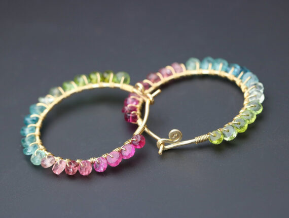 Pink Green and Blue Tourmaline Earrings Wire Wrapped Gemstone Hoop Earrings in Gold Filled