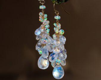 Solid Gold 14K Rainbow Moonstone and Welo Ethiopian Opal Cascade Cluster Earrings, Long Statement Earrings