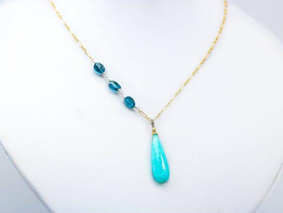 Aqua Blue Amazonite Pendant with London Blue Topaz, Mixed Metal Blue Gemstone Pendant