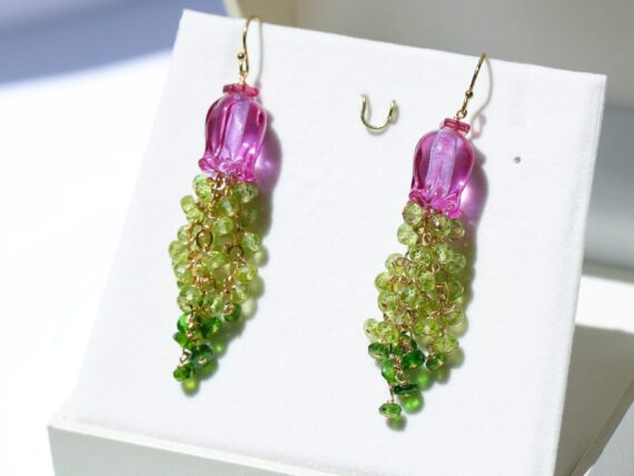 Lampwork Flower Gemstone Cascade Earrings