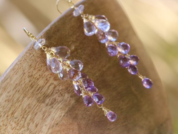 Solid Gold 14K Pink Amethyst Long Cluster Earrings, Wire Wrapped Gemstone Statement Earrings