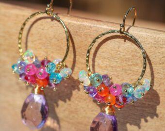 Pink Amethyst Multi Gemstone Dangle Hoop Earrings in Gold Filled