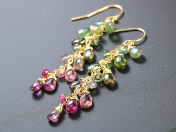 Watermelon Tourmaline Dangle Earrings in Gold Filled