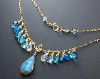 Blue Labradorite with Apatite, Topaz and Moss Kyanite Necklace, Multi Gemstone Statement Necklace